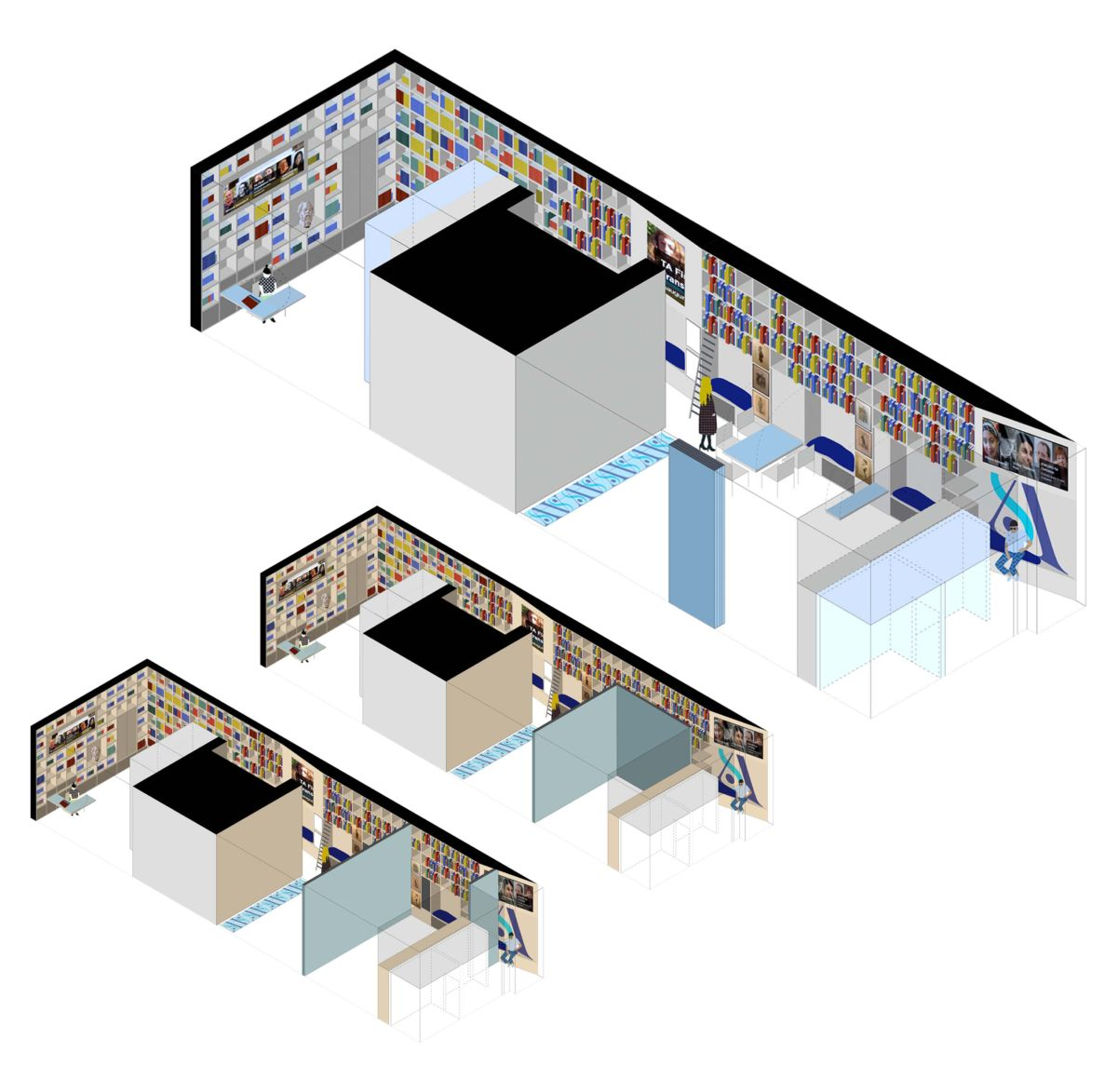 Movable Wall Variations, Isometric Drawings
